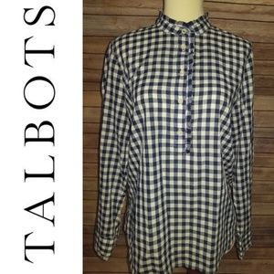 Talbots Blue Gingham Ruffle Blouse Size Sp